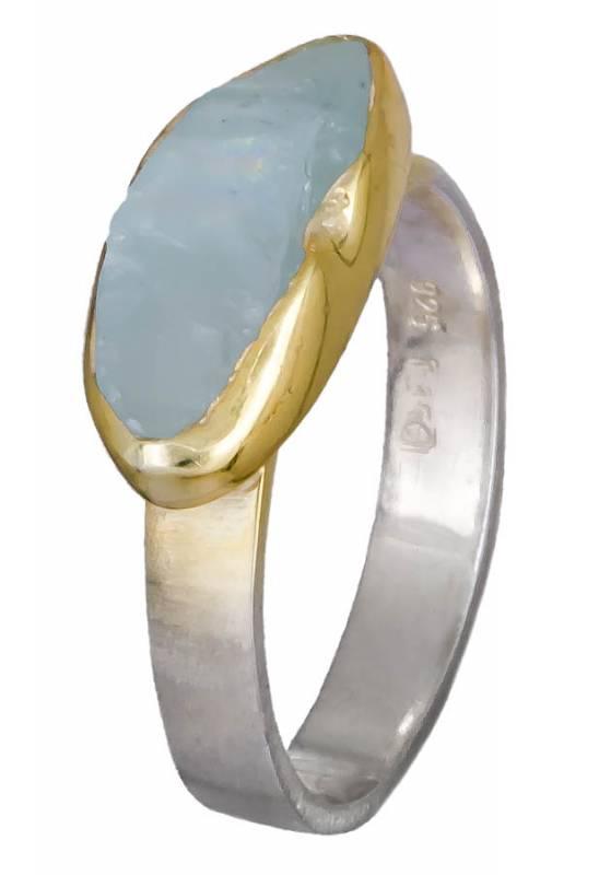 Δίχρωμο δαχτυλίδι aqua marine 925 021031 021031 Ασήμι ασημένια κοσμήματα δαχτυλίδια