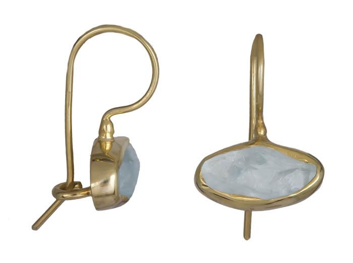 Ασημένια επίχρυσα σκουλαρίκια Aqua marine 925 021036 021036 Ασήμι ασημένια κοσμήματα σκουλαρίκια