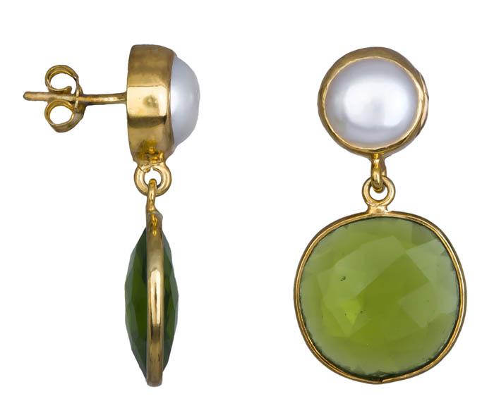 Γυναικεία σκουλαρίκια με πράσινη Quartz 925 021038 021038 Ασήμι