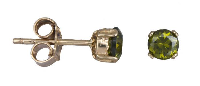 Γυναικεία σκουλαρίκια με πράσινη ζιργκόν Κ14 021040 021040 Χρυσός 14 Καράτια