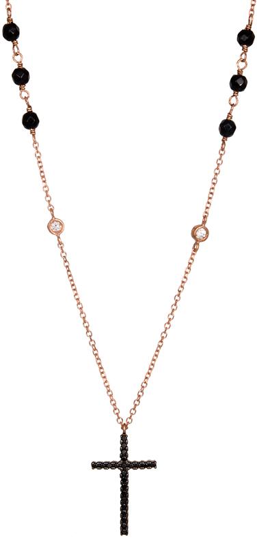 Ροζάριο με σταυρό σε ροζ χρυσό Κ14 021072 021072 Χρυσός 14 Καράτια