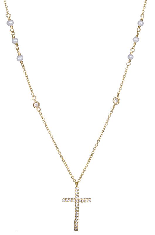 Γυναικείο κολιέ με πέτρατο σταυρό Κ14 021074 021074 Χρυσός 14 Καράτια