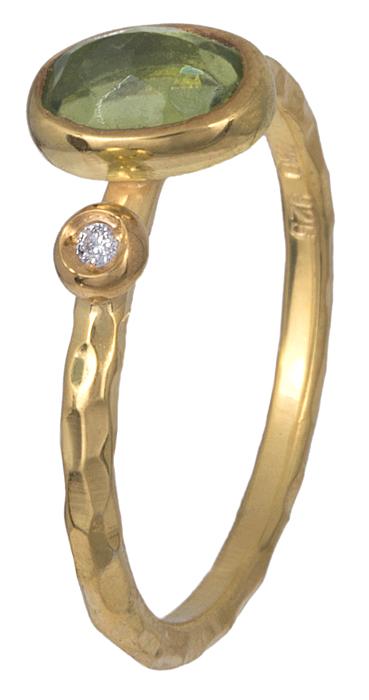 Δαχτυλίδι γυναικείο με peridot και διαμάντι Κ18 021080 021080 Χρυσός 18 Καράτια