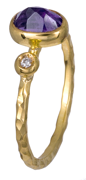 Γυναικείο δαχτυλίδι με αμέθυστο και διαμαντάκι Κ18 021081 021081 Χρυσός 18 Καράτια