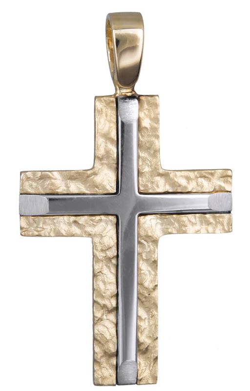 Σταυροί Βάπτισης - Αρραβώνα Ανδρικός δίχρωμος σταυρός Κ14 021126 021126 Ανδρικό Χρυσός 14 Καράτια