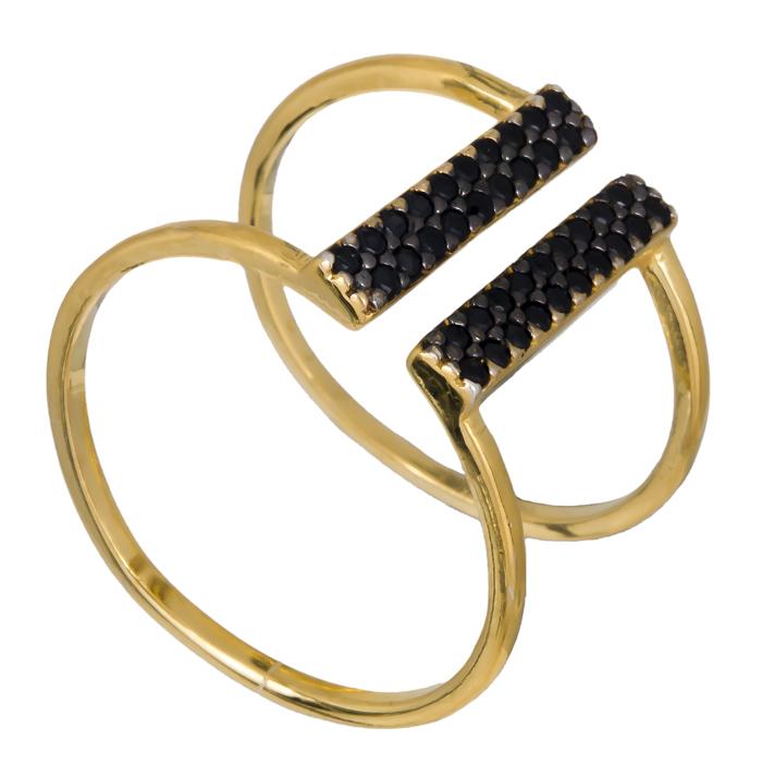 Γυναικείο δαχτυλίδι 925 με μαύρες ζιργκόν 021142 021142 Ασήμι