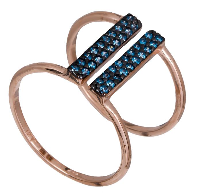 Ροζ επίχρυσο δαχτυλίδι 925 με μπλε ζιργκόν 021143 021143 Ασήμι