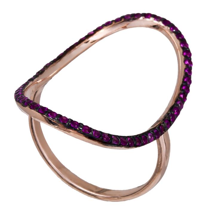 Γυναικείο ροζ δαχτυλίδι με φούξια ζιργκόν 925 021155 021155 Ασήμι