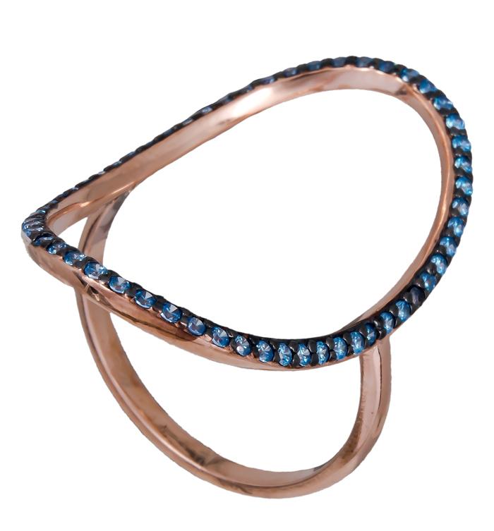 Δαχτυλίδι οβάλ με μπλε ζιργκόν 925 021157 021157 Ασήμι