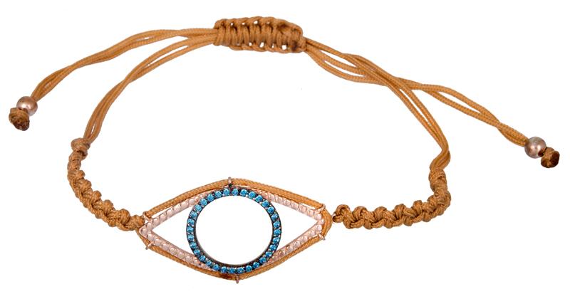Μπεζ μακραμέ βραχιόλι με μάτι 925 021191 021191 Ασήμι ασημένια κοσμήματα βραχιόλια