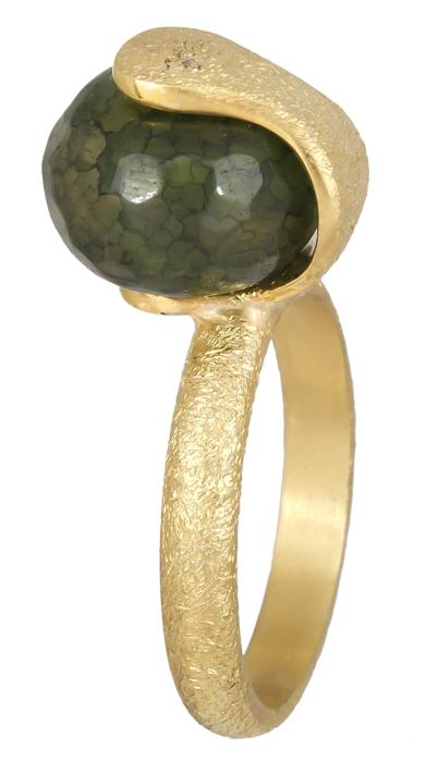 Επίχρυσο δαχτυλίδι με πράσινη πέτρα 925 021220 021220 Ασήμι