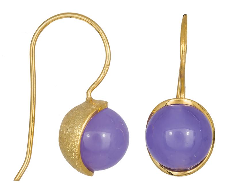 Γυναικεία σκουλαρίκια με μωβ πέτρα 925 021224 021224 Ασήμι