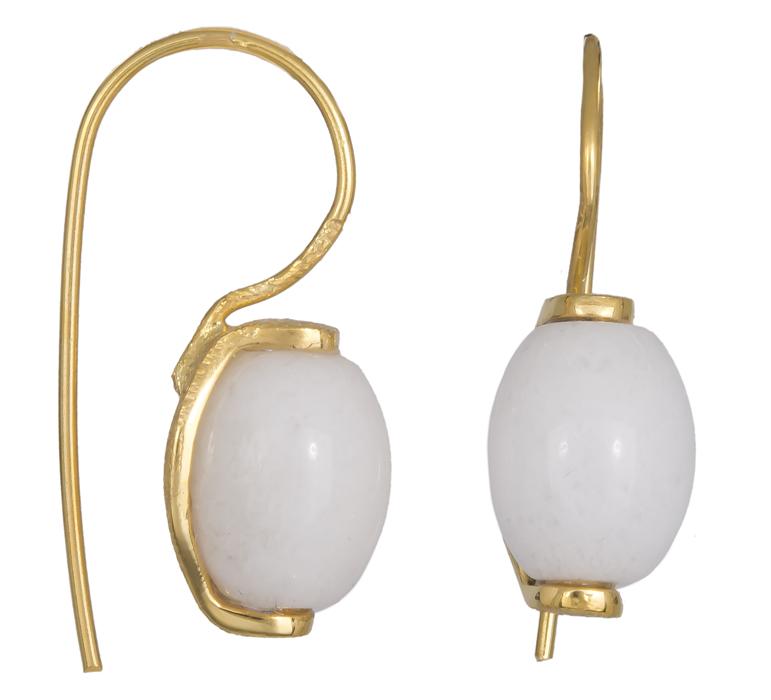Επίχρυσα σκουλαρίκια με λευκή πέτρα 925 021228 021228 Ασήμι