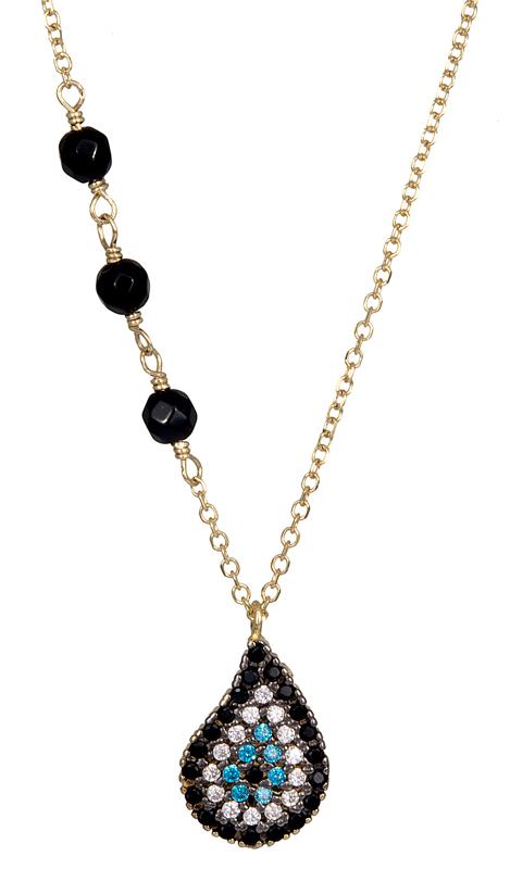 Γυναικείο ματάκι με πέτρες Κ14 021235 021235 Χρυσός 14 Καράτια χρυσά κοσμήματα κολιέ