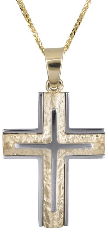 Βαπτιστικοί Σταυροί με Αλυσίδα Δίχρωμος σταυρός με αλυσίδα Κ14 C021247 021247C Ανδρικό Χρυσός 14 Καράτια