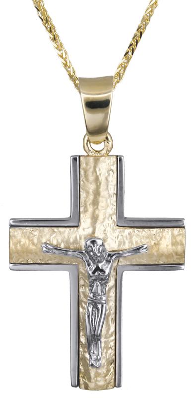 Βαπτιστικοί Σταυροί με Αλυσίδα Αντρικός σταυρός με τον Εσταυρωμένο 14Κ C021248 021248C Ανδρικό Χρυσός 14 Καράτια