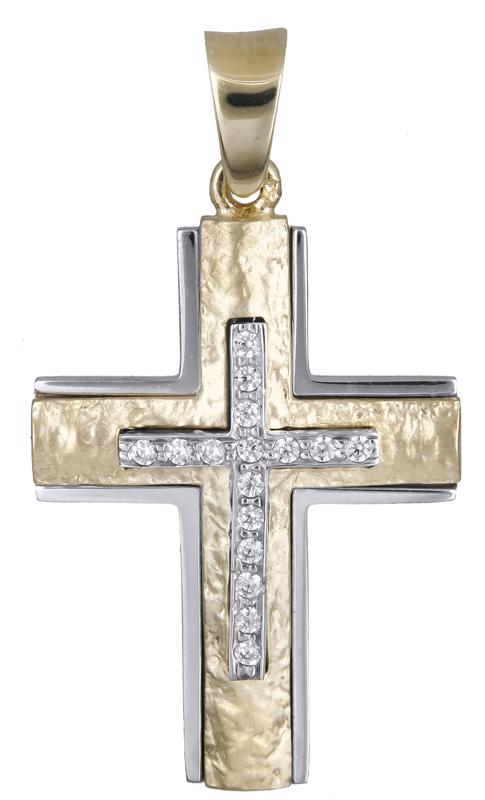 Σταυροί Βάπτισης - Αρραβώνα Γυναικείος δίχρωμος σταυρός με ζιργκόν Κ14 021249 021249 Γυναικείο Χρυσός 14 Καράτια