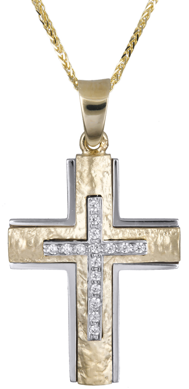 Βαπτιστικοί Σταυροί με Αλυσίδα Δίχρωμος γυναικείος σταυρός με αλυσίδα 14Κ C021249 021249C Γυναικείο Χρυσός 14 Καράτια