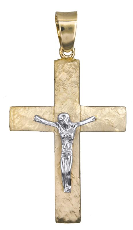 Σταυροί Βάπτισης - Αρραβώνα Σταυρός διπλής όψης για αγόρι Κ14 021252 021252 Ανδρικό Χρυσός 14 Καράτια