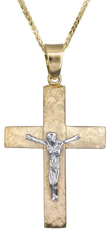 Βαπτιστικοί Σταυροί με Αλυσίδα Αντρικός σταυρός με αλυσίδα 14Κ C021252 021252C Ανδρικό Χρυσός 14 Καράτια