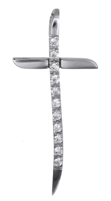 Σταυροί Βάπτισης - Αρραβώνα Λευκόχρυσος σταυρός Κ14 021258 021258 Γυναικείο Χρυσός 14 Καράτια