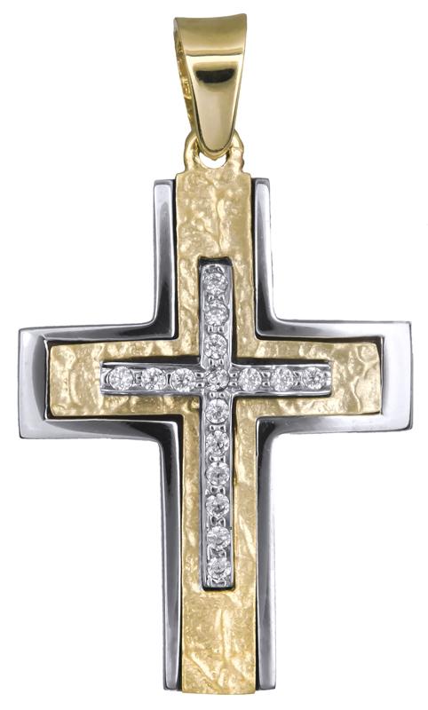 Σταυροί Βάπτισης - Αρραβώνα Γυναικείος σταυρός με ζιργκόν Κ14 021259 021259 Γυναικείο Χρυσός 14 Καράτια