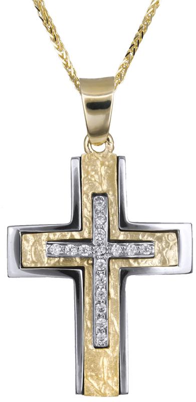 Βαπτιστικοί Σταυροί με Αλυσίδα Γυναικείος σταυρός πετράτος 14Κ C021259 021259C Γυναικείο Χρυσός 14 Καράτια