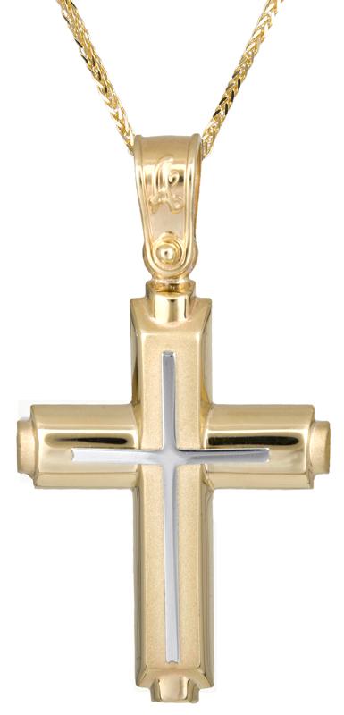 Βαπτιστικοί Σταυροί με Αλυσίδα Αντρικός κλασικός σταυρός με αλυσίδα Κ14 C021279 021279C Ανδρικό Χρυσός 14 Καράτια