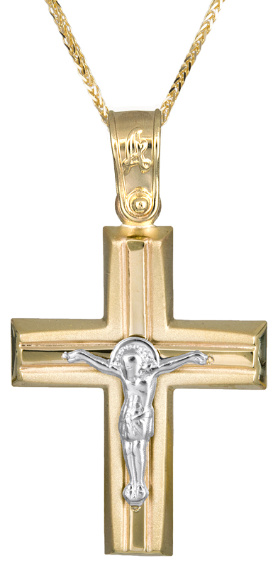 Βαπτιστικοί Σταυροί με Αλυσίδα Βαπτιστικός σταυρός με αλυσίδα για αγόρι Κ14 C021282 021282C Ανδρικό Χρυσός 14 Καράτια