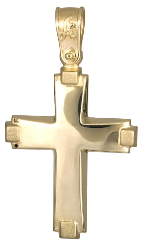 Σταυροί Βάπτισης - Αρραβώνα Χρυσός σταυρός βάπτισης για αγόρι Κ14 021284 021284 Ανδρικό Χρυσός 14 Καράτια