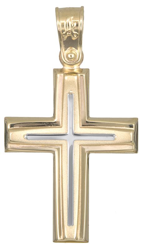 Σταυροί Βάπτισης - Αρραβώνα Αντρικός δίχρωμος σταυρός Κ14 021287 021287 Ανδρικό Χρυσός 14 Καράτια