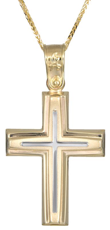 Βαπτιστικοί Σταυροί με Αλυσίδα Αντρικός σταυρός με αλυσίδα Κ14 C021287 021287C Ανδρικό Χρυσός 14 Καράτια