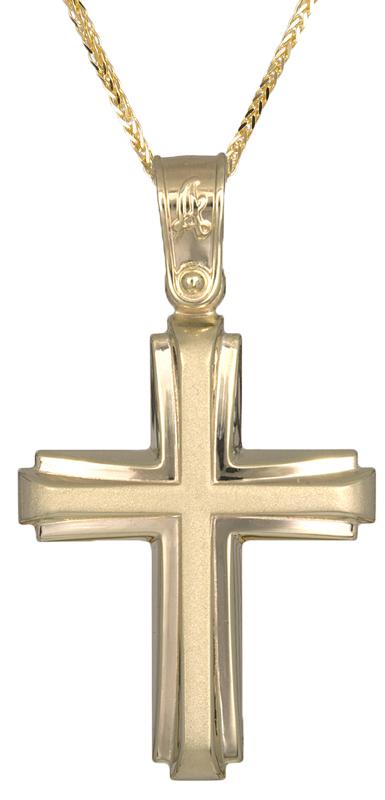 Βαπτιστικοί Σταυροί με Αλυσίδα Χρυσός σταυρός βάπτισης με καδένα Κ14 C021288 021288C Ανδρικό Χρυσός 14 Καράτια
