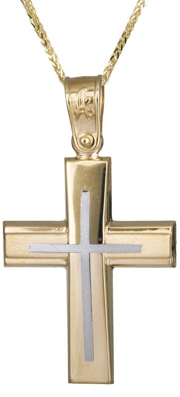 Βαπτιστικοί Σταυροί με Αλυσίδα Αντρικός κλασικός σταυρός Κ14 C021291 021291C Ανδρικό Χρυσός 14 Καράτια