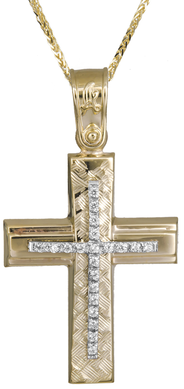 Βαπτιστικοί Σταυροί με Αλυσίδα Σταυρός βάπτισης για κορίτσι με καδένα Κ14 C021293 021293C Γυναικείο Χρυσός 14 Καράτια