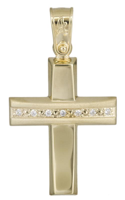 Σταυροί Βάπτισης - Αρραβώνα Γυναικείος ματ σταυρός με ζιργκόν 14Κ 021295 021295 Γυναικείο Χρυσός 14 Καράτια