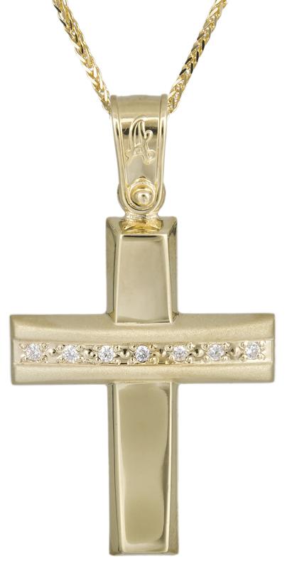 Βαπτιστικοί Σταυροί με Αλυσίδα Σταυρός βάπτισης με αλυσίδα Κ14 C021295 021295C Γυναικείο Χρυσός 14 Καράτια