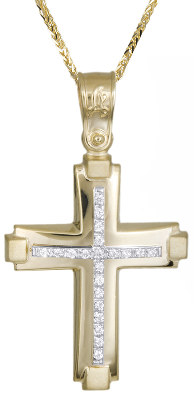Βαπτιστικοί Σταυροί με Αλυσίδα Βαπτιστικός χρυσός σταυρός με καδένα Κ14 C021298 021298C Γυναικείο Χρυσός 14 Καράτια