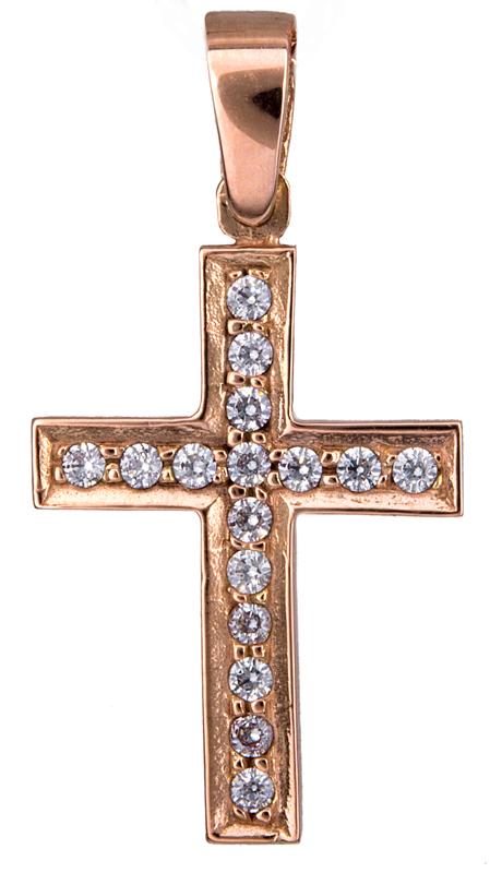 Γυναικείος ροζ σταυρός Κ14 021302 021302 Χρυσός 14 Καράτια χρυσά κοσμήματα σταυροί