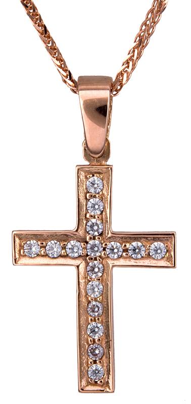 Ροζ γυναικείος σταυρός Κ14 C021302 021302C Χρυσός 14 Καράτια χρυσά κοσμήματα σταυροί