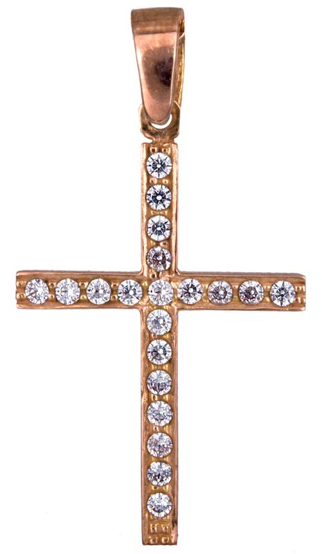 Γυναικείος ροζ σταυρός Κ14 021303 021303 Χρυσός 14 Καράτια χρυσά κοσμήματα σταυροί