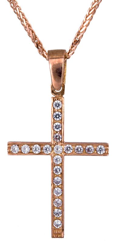 Ροζ γυναικείος σταυρός Κ14 C021303 021303C Χρυσός 14 Καράτια χρυσά κοσμήματα σταυροί