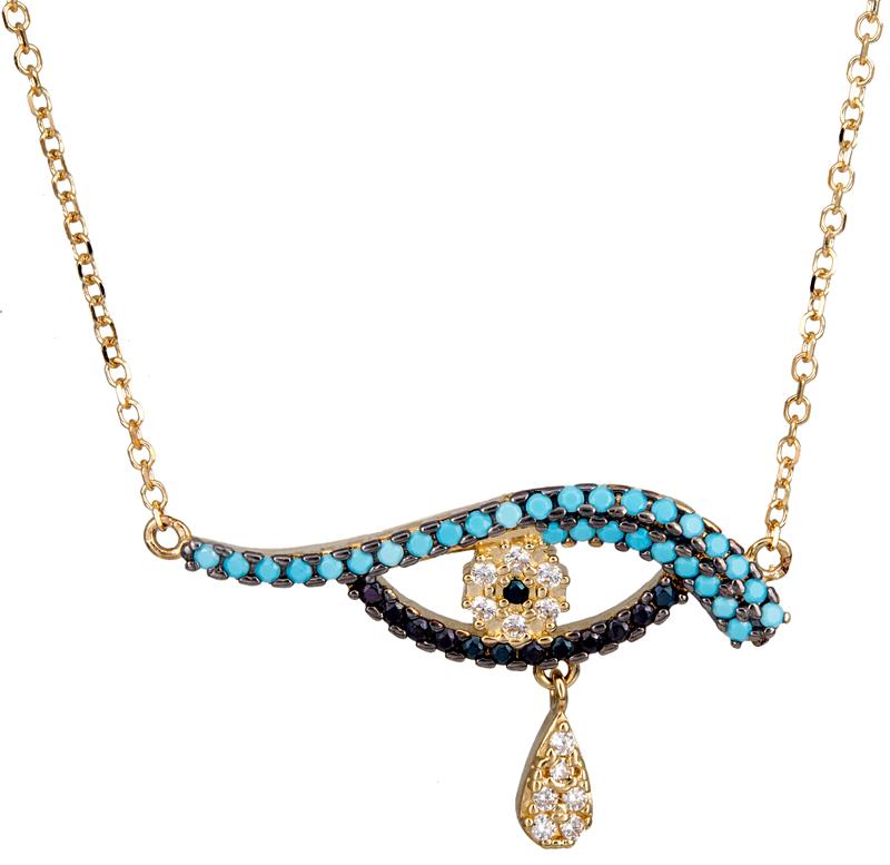 Χρυσό γυναικείο κολιέ με ματάκι Κ14 021306 021306 Χρυσός 14 Καράτια