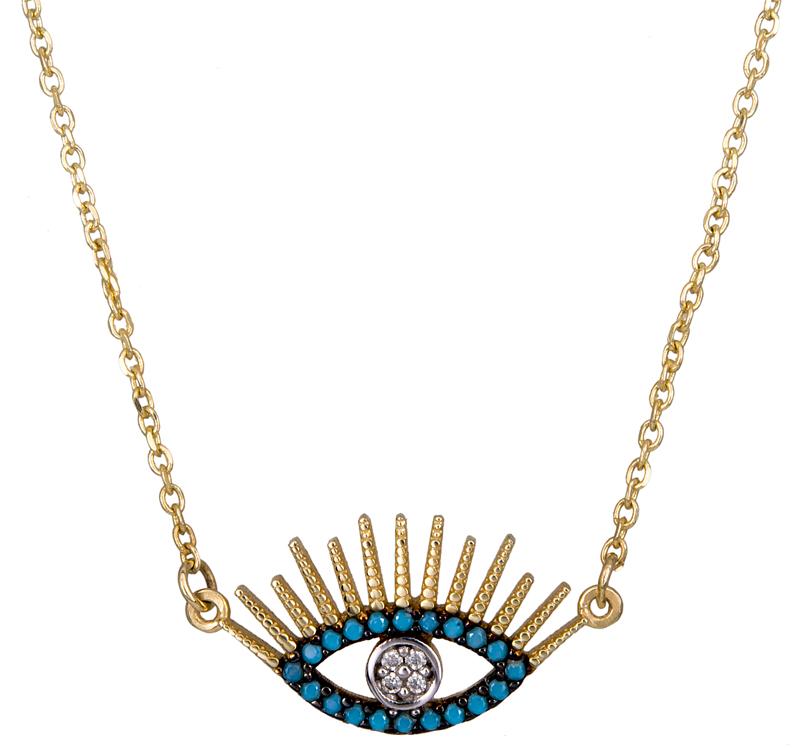 Γυναικείο κολιέ με ματάκι Κ14 021319 021319 Χρυσός 14 Καράτια χρυσά κοσμήματα κολιέ