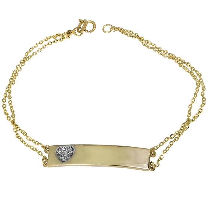 Βραχιόλι ταυτότητα με καρδούλα Κ14 021323 021323 Χρυσός 14 Καράτια