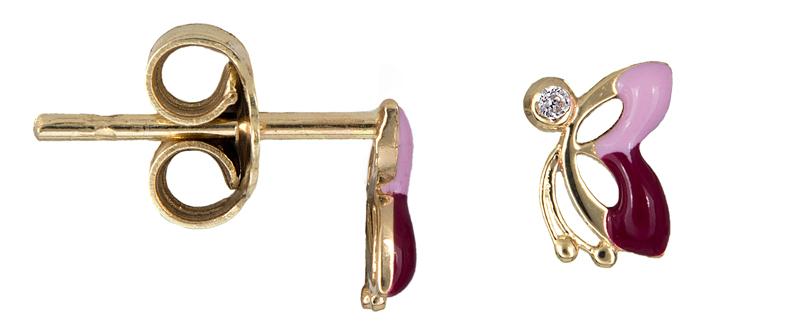 Σκουλαρίκια πεταλούδες με σμάλτο και ζιργκόν Κ14 021344 021344 Χρυσός 14 Καράτια παιδικά κοσμήματα σκουλαρίκια