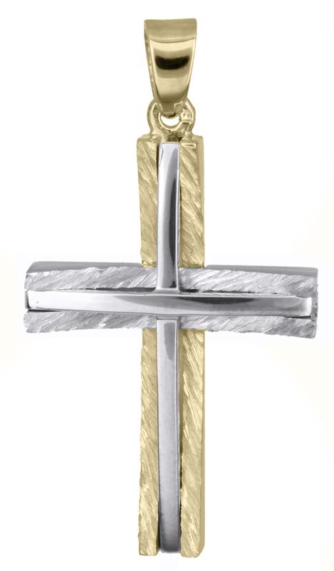 Σταυροί Βάπτισης - Αρραβώνα Δίχρωμος αντρικός σταυρός Κ14 021362 021362 Ανδρικό Χρυσός 14 Καράτια