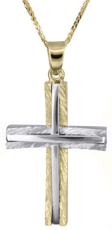 Βαπτιστικοί Σταυροί με Αλυσίδα Δίχρωμος αντρικός σταυρός με καδένα C021362 021362C Ανδρικό Χρυσός 14 Καράτια