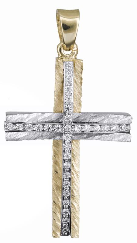 Σταυροί Βάπτισης - Αρραβώνα Δίχρωμος γυναικείος σταυρός 14Κ 021363 021363 Γυναικείο Χρυσός 14 Καράτια