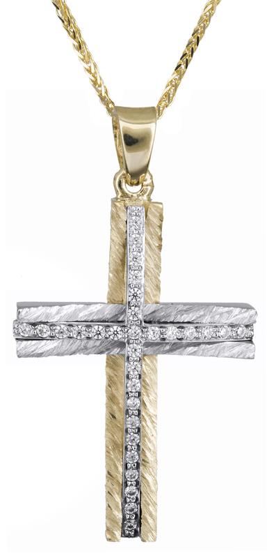 Βαπτιστικοί Σταυροί με Αλυσίδα Γυναικείος σταυρός με καδένα Κ14 C021363 021363C Γυναικείο Χρυσός 14 Καράτια